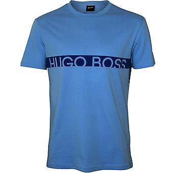 Boss Block Logo UV-Absorbent Crew-Neck T-Shirt, Soft Blue