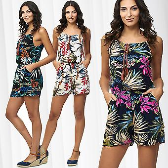 Womens Playsuit Summer Overall Floral One Piece Jumpsuit Romper Pantsuit Flowers