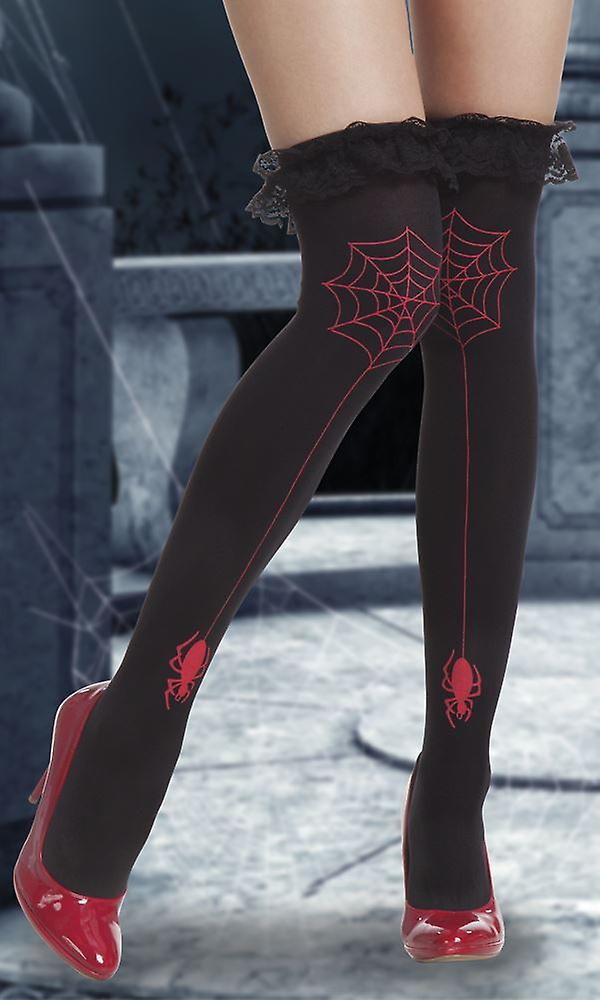Womens Red Spider Stockings Halloween Fancy Dress Accessory