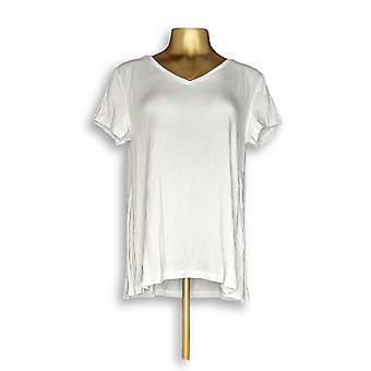 H di Halston Women's Top Essentials V-Neck Tee White A306231