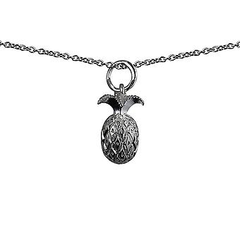 Silver 13x8mm Pineapple Pendant with a rolo Chain 14 inches Only Suitable for Children