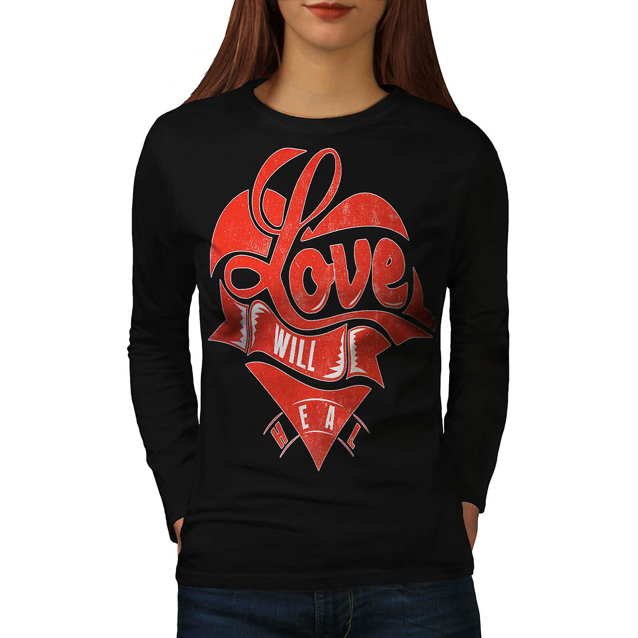 Love Will Heal Life Broken Heart Women Black Long Sleeve T-shirt | Wellcoda