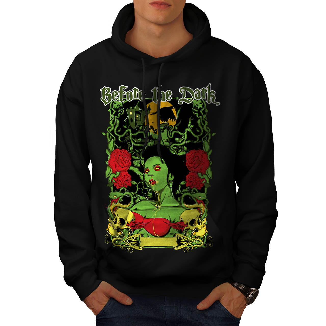 Before Dark Vampire Zombie Girl Men Black Hoodie | Wellcoda