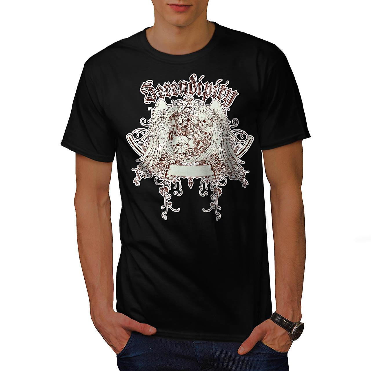 Serendipity Skull Fashion Men Black T-shirt | Wellcoda