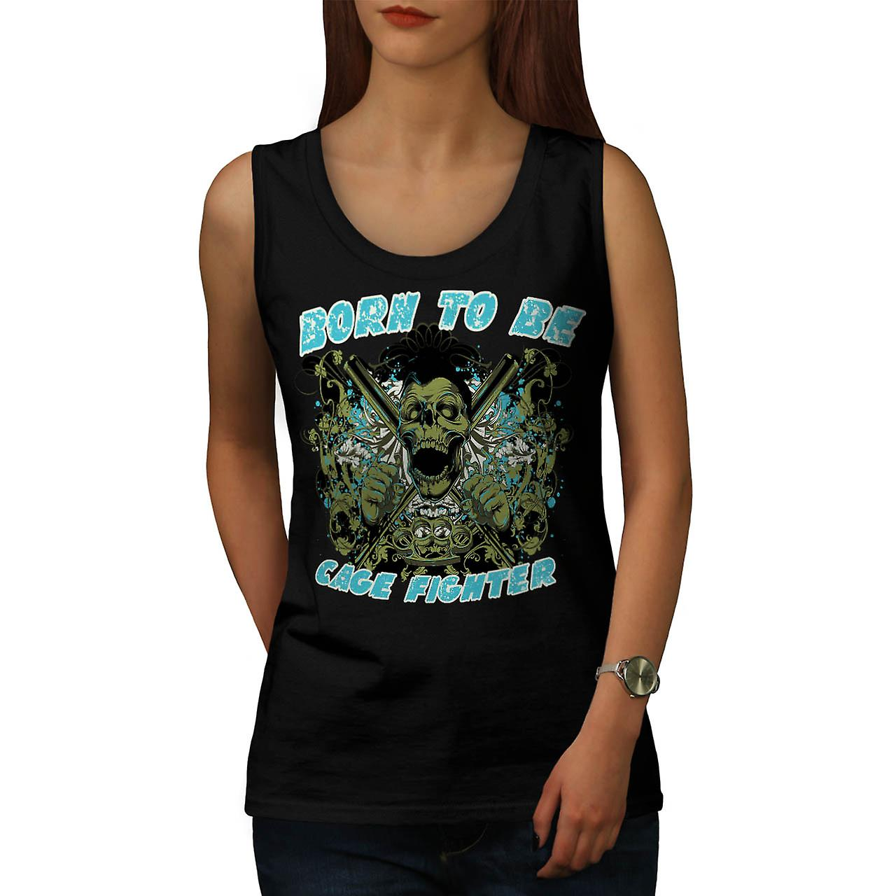 Born Cage Fighter USA Dead Skull Women Black Tank Top | Wellcoda