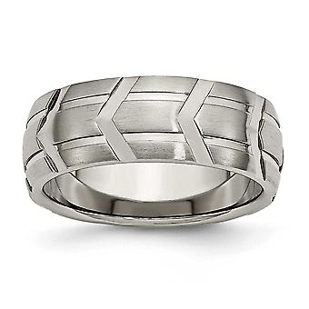 Titanium Grooved Brushed Engravable Satin and Polished 8mm Band Ring - Ring Size: 7 to 13