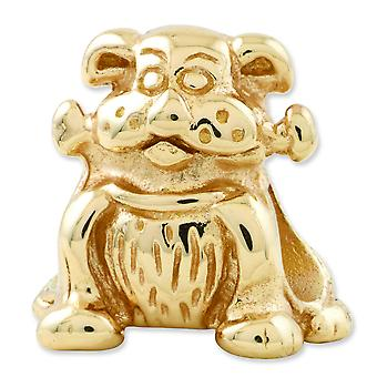 Sterling Silver Gold-plated Reflections Dog With Bone Bead Charm