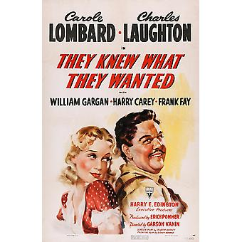 They Knew What They Wanted Us Poster Art From Left Carole Lombard Charles Laughton 1940 Movie Poster Masterprint