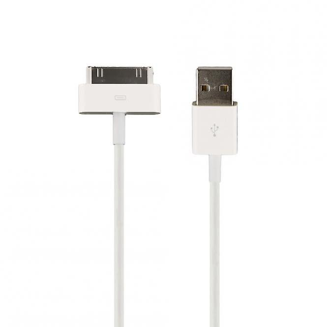 HTCOM 2m USB charging data cable iPhone iPad iPod 30pin to USB white