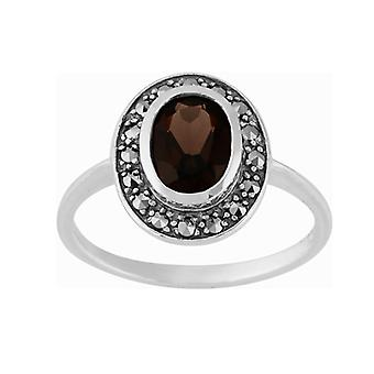Plata esterlina 1,12 ct Smokey cuarzo y Marcasita Cluster Ring