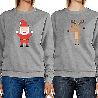 Pixel Santa And Rudolph  Couple Sweatshirts Holiday Matching Tops