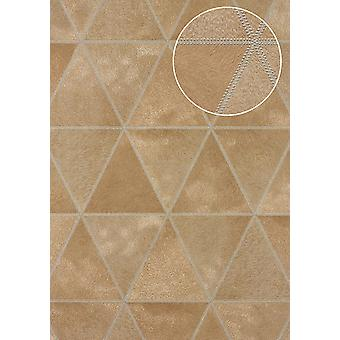 Embossed wallpaper Atlas SKI-5066-3 non-woven wallpaper minted in coat patterns shimmering beige brown beige caramel brown silver 7,035 m2