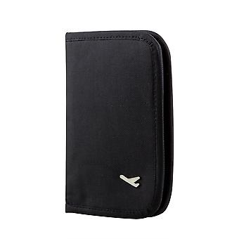 TRIXES Travel Wallet Black Document & Passport Organiser with Zipped closure for tickets etc