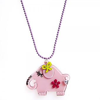 Camille Pink Elephant Design Necklace