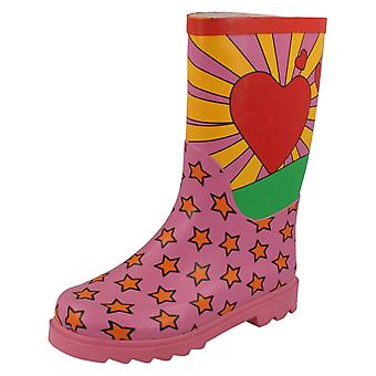 Girls Spot On Heart And Star Design Boots