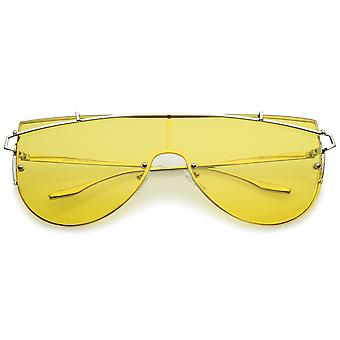 Futuristische naadloze metalen dwarsbalk gekleurde Mono Lens Shield zonnebril 62mm