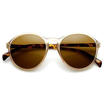 Matte Finish Retro Keyhole Bridge P3 Frame Round Sunglasses