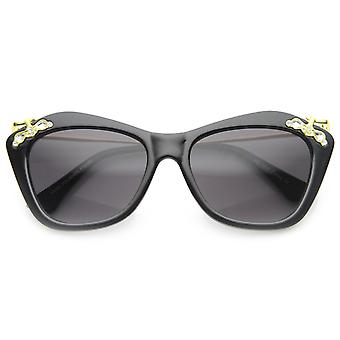Designer Elegance High Templed Cat Eye Sunglasses w/ Rhinestones