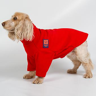 Ginger Ted Cosy Fleece Warm Dog Jumper  Red (6 sizes)
