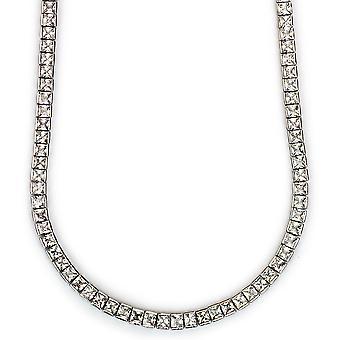 Square Cut CZ Tennis Necklace in 18k Platinum