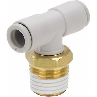 SMC Pneumatic Tee Threaded-To-Tube Adapter, 1/8In X 8Mm X 8Mm