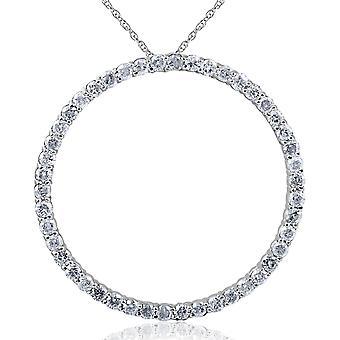 2CT cercle éternité 14K or blanc diamant pendentif