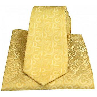 Posh and Dandy Link Pattern Luxury Tie and Pocket Square Set - Gold