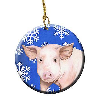 Carolines Treasures  SB3147CO1 Pig Winter Snowflakes Holiday Ceramic Ornament