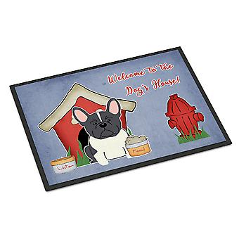 Haus Sammlung Französisch Bulldog Hund schwarz weiß Indoor oder Outdoor Mat 18 x 27