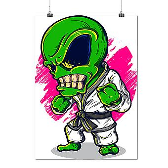 Matte or Glossy Poster with Karate Alien Mad Fashion | Wellcoda | *d2022