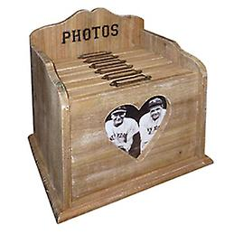 Heart -  Solid Wood 120 6x4 Photo / Picture Filing Box With 6 Albums - Brown