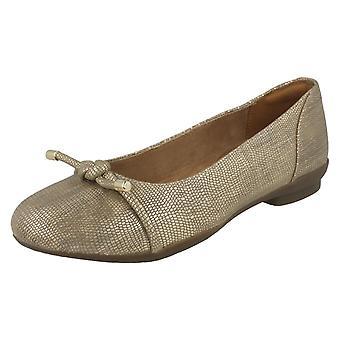 Ladies Clarks Ballerina Flats Neenah papavero - misura di pelle metallizzata oro - taglia UK 4.5 e - EU 37.5 - US dimensioni 7W