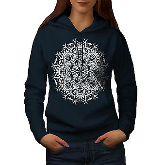Pattern Art Cool Fashion Women NavyHoodie | Wellcoda