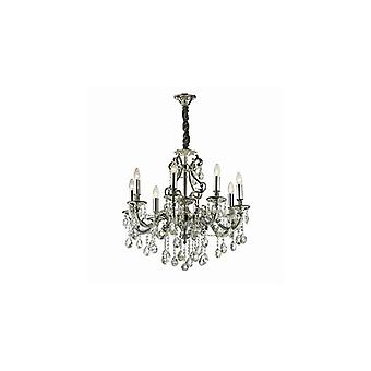 Gioconda Antique Silver Finish Eight Light Chandelier With Crystals - Ideal Lux 44934