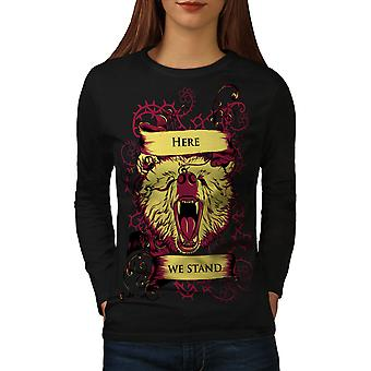 Ici, nous sommes des femmes animaux sauvages noirLong Sleeve T-shirt | Wellcoda