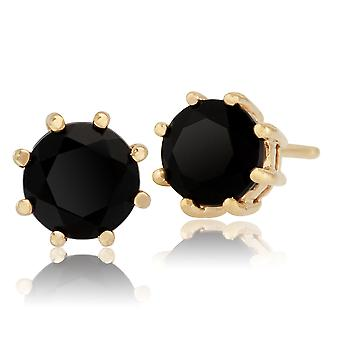 Gemondo 9ct Yellow Gold 1.10ct Black Onyx 8 Claw Set Round Stud Earrings 5.00mm