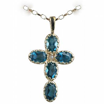 9ct Gold 25x16mm Cross set with 5 Blue Topaz and 1 Pearl on a belcher Chain 16 inches Only Suitable for Children