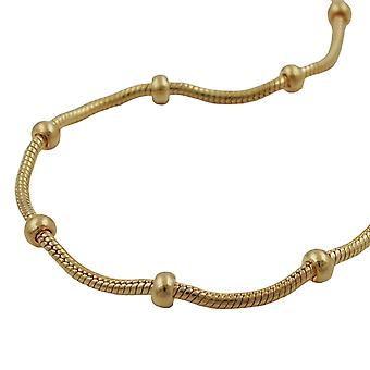 Necklace snake and ball chain gold plated 42cm