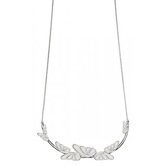 Elements Silver Statement Butterfly Necklace - Silver/White