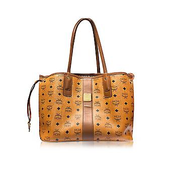 MCM women's MWP5SVI22CO001 brown leather tote