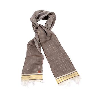 Pinstripe Cotton Blend Scarf – Brown & White