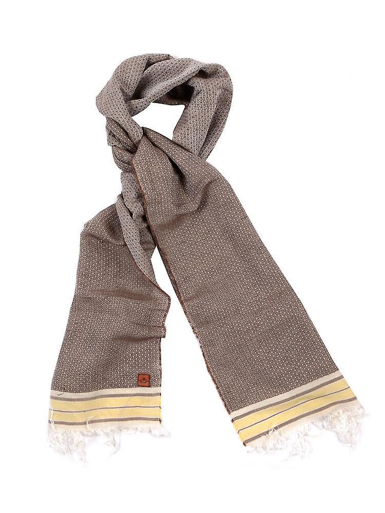 Pinstripe Cotton Blend Scarf – Brown & White