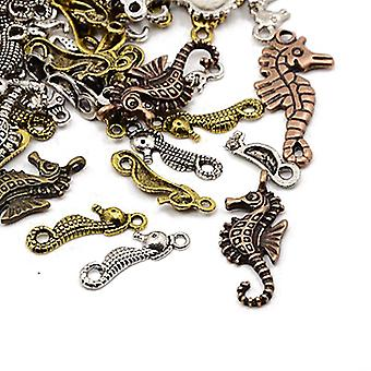 Packet 30 Grams Multicolour Tibetan 5-40mm Seahorse Charm/Pendant Mix HA06730