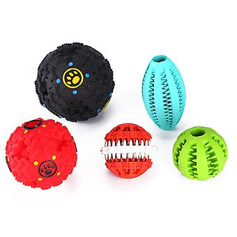 Dog Toys - 2 Treat Toys With Sound, 2 Teeth Cleaning Chew Toys, 1 Football Fetch Toy, Non Toxic Materials
