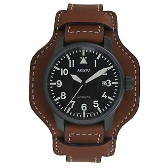 Aristo mens watch wristwatch automatic Fliegeruhr 0 H 11 leather