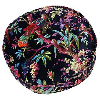 Riva Home Birds Of Paradise Floral Pattern Round Cushion Cover