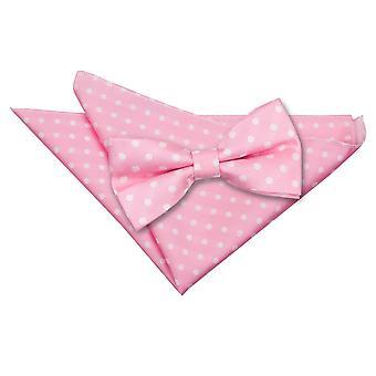 Pink Polka Dot Bow Tie & Pocket Square Set