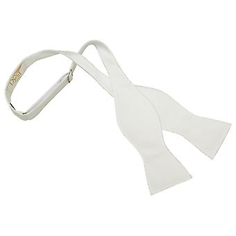 White Solid Check Self-Tie Bow Tie