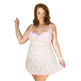 Womens Plus Size Full Figure Bridal Soft Cup Underwire Lace Babydoll Lingerie Top