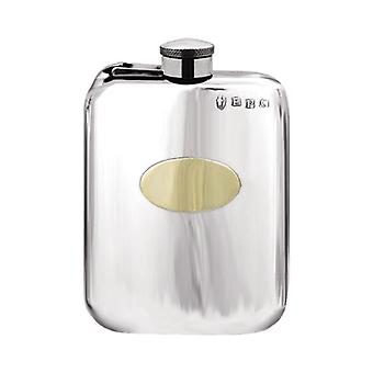 Brass Badge Plain Pewter Purse Flask With Captive Top - 4oz